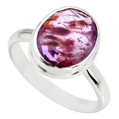 5.24cts cacoxenite super seven silver faceted ring size 8.5 r34118