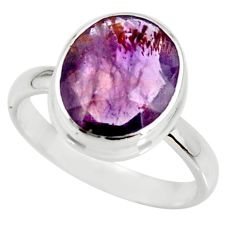 4.98cts cacoxenite super seven silver faceted ring size 7.5 r34119