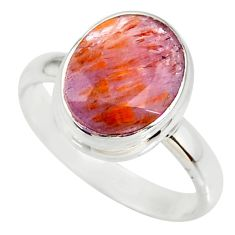 4.80cts cacoxenite super seven silver faceted ring size 7 r34085