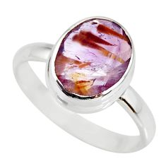 5.24cts cacoxenite super seven silver faceted ring size 9 r34113