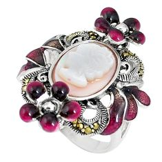 Natural cameo on shell pearl lady face 925 silver flower ring size 5.5 c16250