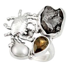 9.91cts natural campo del cielo (meteorite) 925 silver crab ring size 6 d46038