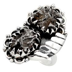 15.10cts natural campo del cielo (meteorite) 925 silver ring size 8 r44425