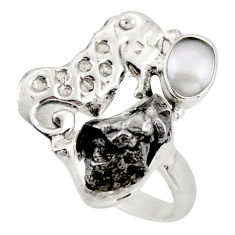 8.44cts natural campo del cielo (meteorite) silver seahorse ring size 8.5 d46037