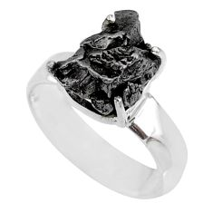 5.58cts natural campo del cielo (meteorite) silver solitaire ring size 7 r73508