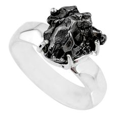 6.04cts natural campo del cielo (meteorite) silver solitaire ring size 7 r73510