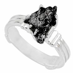 4.82cts natural campo del cielo (meteorite) silver solitaire ring size 7 r73518