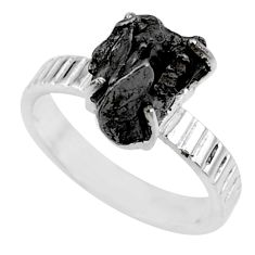 5.87cts natural campo del cielo (meteorite) silver solitaire ring size 7 r73519