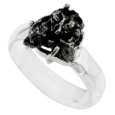6.04cts natural campo del cielo (meteorite) silver solitaire ring size 8 r73511