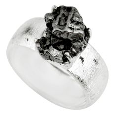 7.51cts natural campo del cielo (meteorite) silver solitaire ring size 8 r73512