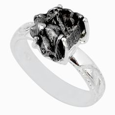 6.02cts natural campo del cielo (meteorite) silver solitaire ring size 8 r73515