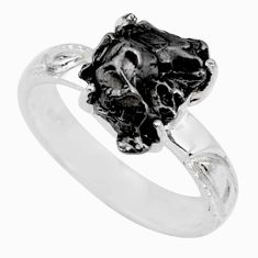 5.87cts natural campo del cielo (meteorite) silver solitaire ring size 8 r73516