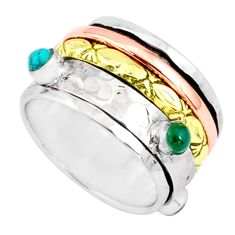 1.77cts natural chalcedony 925 silver two tone spinner band ring size 9.5 r80569