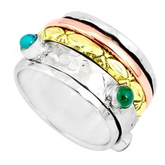 1.60cts natural chalcedony 925 silver two tone spinner band ring size 7.5 r80571