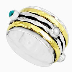 1.86cts natural chalcedony 925 silver two tone spinner band ring size 8.5 r80580