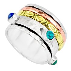 1.69cts natural chalcedony 925 silver two tone spinner band ring size 8.5 r80587