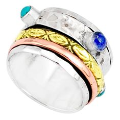 1.69cts natural chalcedony 925 silver two tone spinner band ring size 8.5 r80589