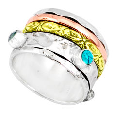 1.65cts natural chalcedony 925 silver two tone spinner band ring size 7.5 r80590