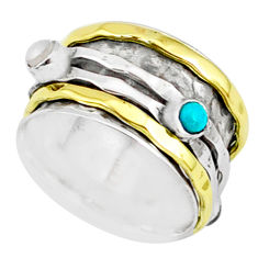 1.55cts natural chalcedony 925 silver two tone spinner band ring size 7 r80579