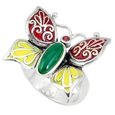 1.72cts natural green chalcedony garnet 925 silver butterfly ring size 7 c15992