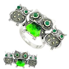 Natural green chalcedony marcasite enamel 925 silver owl ring size 6.5 c18608