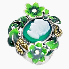Natural green chalcedony pearl enamel 925 silver lady face ring size 7.5 c16224