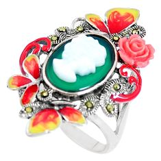 Natural green chalcedony pearl enamel lady face 925 silver ring size 8 c16229