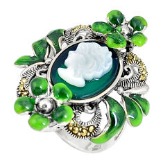 Natural green chalcedony pearl lady face 925 silver flower ring size 5.5 c16313