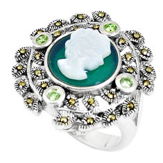 5.78cts natural green chalcedony pearl lady face 925 silver ring size 7 c16053