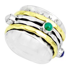 1.55cts natural chalcedony silver two tone spinner band ring size 6.5 r80567