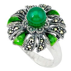 Natural green chalcedony swiss marcasite enamel 925 silver ring size 5.5 c18631
