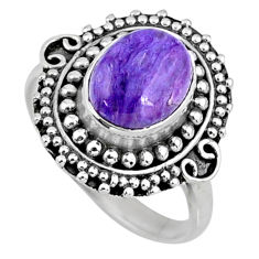4.38cts natural charoite (siberian) 925 silver solitaire ring size 8.5 r57517