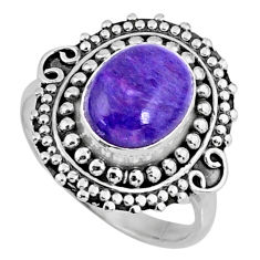 4.16cts natural charoite (siberian) 925 silver solitaire ring size 8.5 r57522