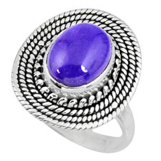 4.38cts natural charoite (siberian) 925 silver solitaire ring size 7.5 r57538