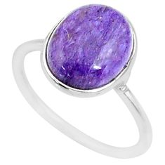 3.75cts natural charoite (siberian) 925 silver solitaire ring size 6 r81718