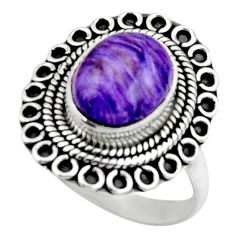 5.11cts natural charoite (siberian) 925 silver solitaire ring size 8 r52666