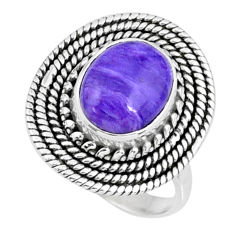 4.16cts natural charoite (siberian) oval silver solitaire ring size 6.5 r57528