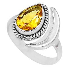 2.55cts natural citrine 925 silver adjustable moon ring size 7.5 r89627