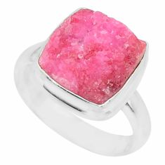 7.50cts natural cobalt calcite druzy 925 sterling silver ring size 7.5 r86032