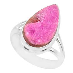 9.45cts natural cobalt calcite druzy 925 sterling silver ring size 7.5 r86033