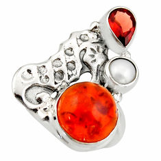6.57cts natural cornelian (carnelian) 925 silver seahorse ring size 7 d46123