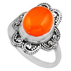 4.08cts natural cornelian (carnelian) 925 silver solitaire ring size 6.5 r54481