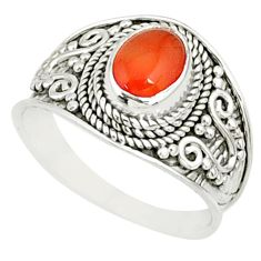 2.09cts natural cornelian (carnelian) 925 silver solitaire ring size 7.5 r81502