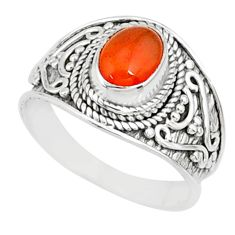 2.17cts natural cornelian (carnelian) 925 silver solitaire ring size 7.5 r81503