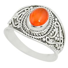 2.20cts natural cornelian (carnelian) 925 silver solitaire ring size 7.5 r81505