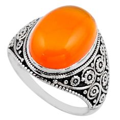 6.31cts natural cornelian (carnelian) 925 silver solitaire ring size 6 r54623