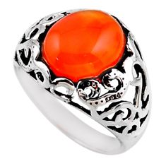 5.31cts natural cornelian (carnelian) 925 silver solitaire ring size 8 r54606