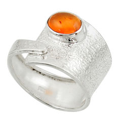3.01cts natural cornelian (carnelian) 925 silver solitaire ring size 9 d47454
