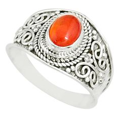 2.12cts natural cornelian (carnelian) 925 silver solitaire ring size 9 r81506