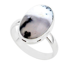 7.04cts natural dendrite opal (merlinite) silver solitaire ring size 9 r95645